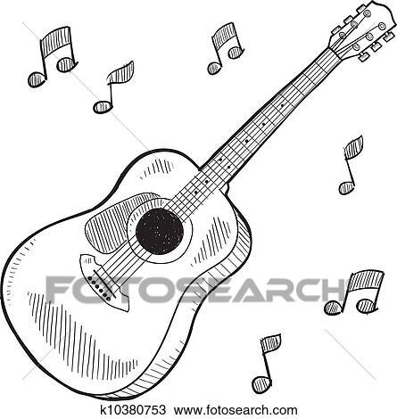 アコースティックギター スケッチ クリップアート切り張りイラスト