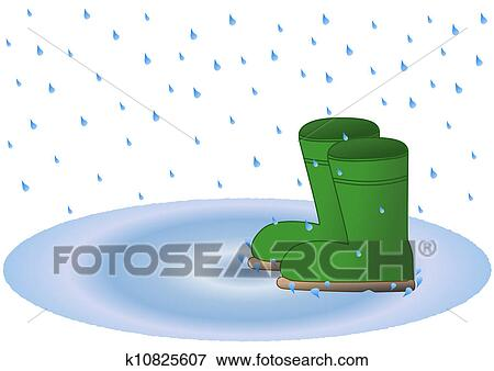 ウェリントンの ブーツ 中に 雨 水たまり イラスト K10825607