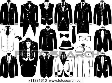 スーツ イラスト セット クリップアート切り張りイラスト絵画