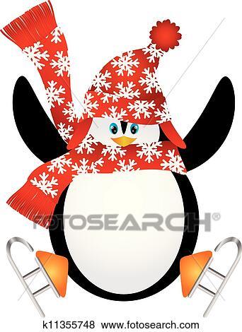 ペンギン で サンタの 帽子 アイススケート イラスト クリップ