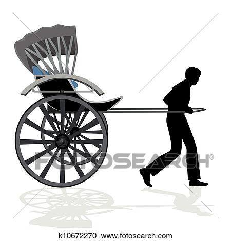 人力車 クリップアート切り張りイラスト絵画集 K10672270