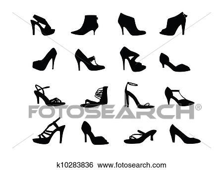 女性 かかと 靴 シルエット イラスト K10283836 Fotosearch