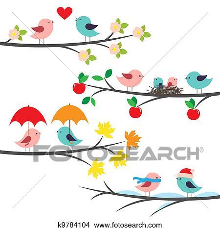 季節的 ブランチ そして 鳥 クリップアート切り張りイラスト