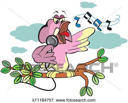 歌っている鳥 イラスト クリップアート K11184757 Fotosearch