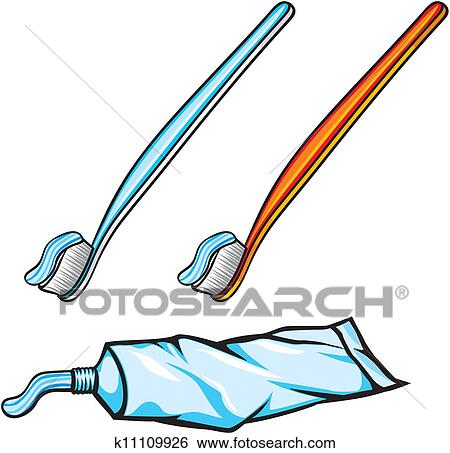 歯磨き粉 そして 歯ブラシ クリップアート K11109926 Fotosearch