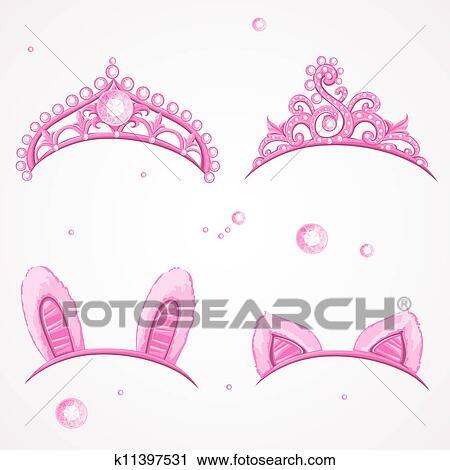 照ること ピンク 女の子 ティアラ クリップアート切り張り