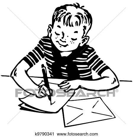男の子 文字を書く クリップアート切り張りイラスト絵画集