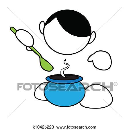 簡単にされている 漫画 男の子の調理 クリップアート切り張り