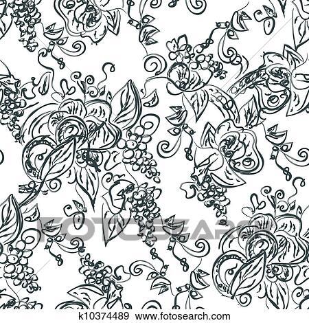 芸術的 Seamless パターン で ブドウ ツル イラスト K10374489