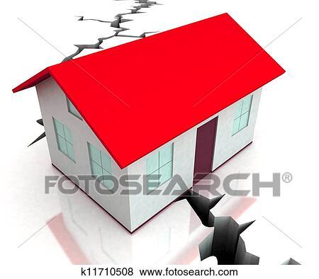 赤 屋根 家 上に ひび ショー 災害 イラスト K11710508 Fotosearch