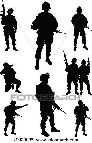 軍隊 兵士 クリップアート切り張りイラスト絵画集 K9929835