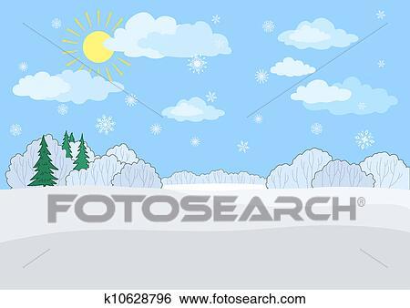 風景 冬 日 イラスト K10628796 Fotosearch