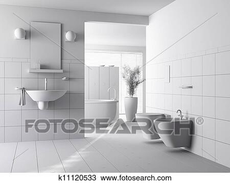 3d clay render of a modern bathroom interior design Drawing ...