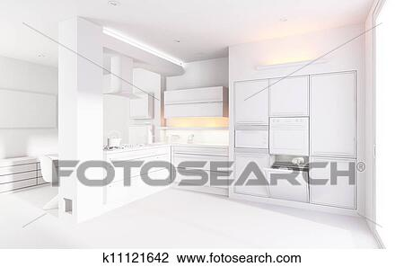 3d Clay Render Of A Modern Kitchen Interior Design Drawing