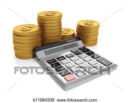 Ilration Business Ideas Calculator And A Group Of Gold Coins
