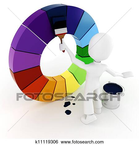Stock Illustration Of 3d Man Painting A Color Wheel K11119306