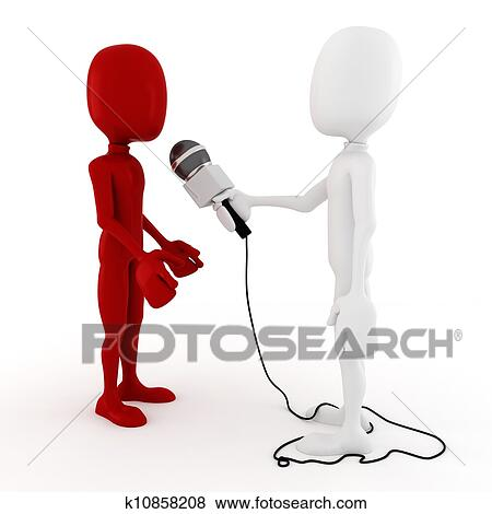 Best Of Reporter Interview Clipart | Stock Illustration Of 3d Man Reporter Interview K10858208 Search