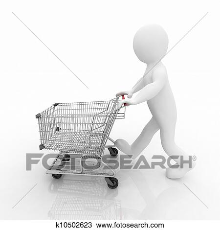 drawing of 3d man rolls the shopping cart k10502623 search clipart