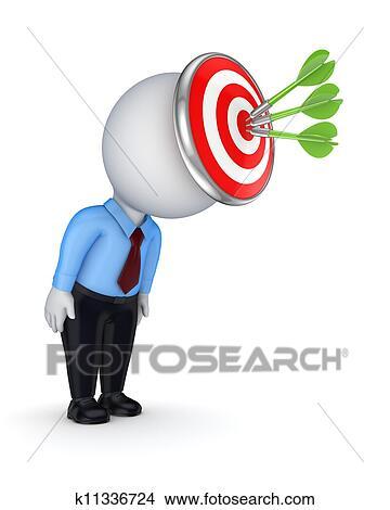 3d Petit Personne A A Cible Sur A Head Banque D Illustrations K11336724 Fotosearch