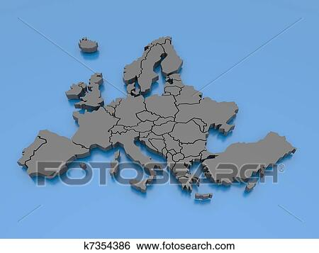 Map Of Europe Luxemburg.Stock Illustration Of 3d Rendering Of A Map Of Europe Luxembourg