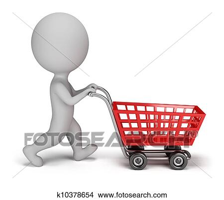 drawings of 3d small people shopping cart k10378654 search clip