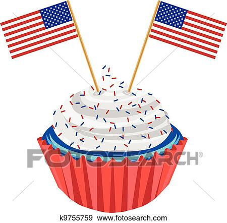 Clip Art Of 4th Of July Cupcake With Flag Illustration K9755759