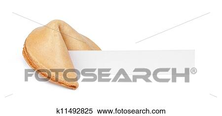 stock image of a fortune cookie with a blank piece of paper isolated