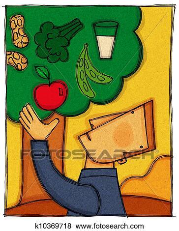 A, homme, cueillette, une, pomme, depuis, a, arbre, rempli, à, différent, groupes nourriture ...