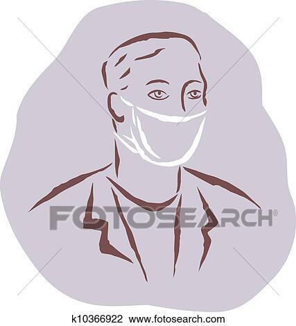 le plus populaire style unique qualité et quantité assurées A, homme, porter, a, masque chirurgical Dessin