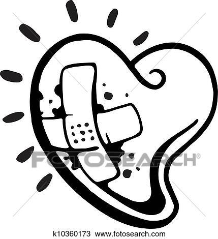 A Noir Blanc Version De A Coeur Saignement à A Bandage Plastique Sur Il Dessin