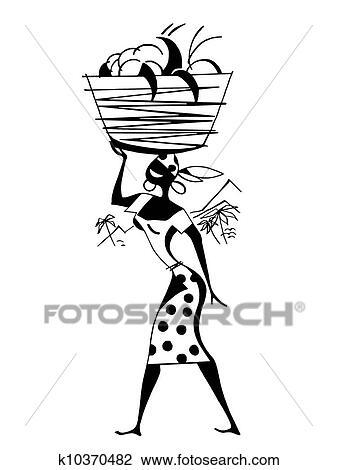 A Noir Blanc Version De A Vendange Illustration De A Femme Porter Positions Dans A Panier Sur Elle Tête Dessin
