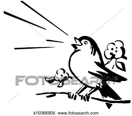 A Noir Blanc Version De A Oiseau Séance Sur A Branche Arbre Chant Banque D Illustrations