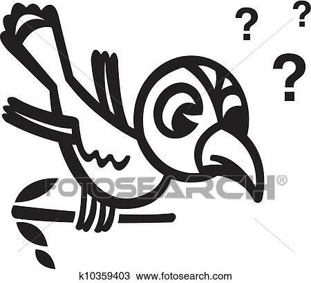 A Noir Blanc Version De A Oiseau Séance Branche à Points Interrogation Dessin