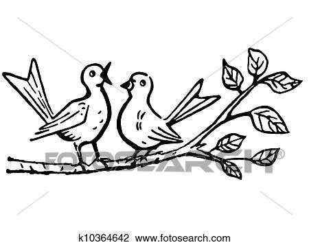 A Noir Blanc Version De Deux Oiseaux Sur A Branche Arbre