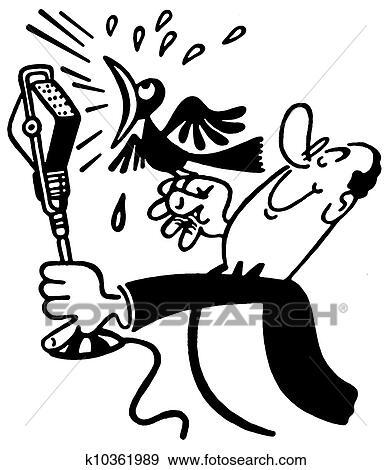 A Noir Une Blanc Version De A Dessin Animé Style Dessin De A Homme Tenue A Screeching Oiseau Devant A Microphone Banque