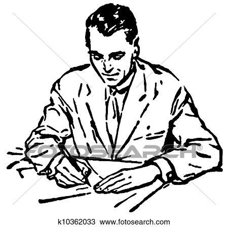 Zeichnung A Schwarz Weiss Version Von A Mann Schreibende An