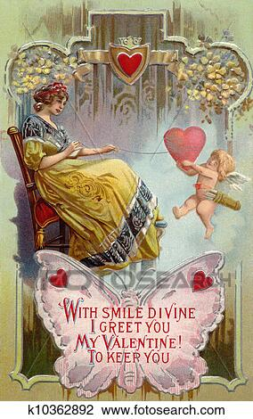A vintage Valentines Day card with a woman pulling in a heart with string  around it and cupid holding on Drawing