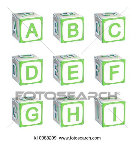 Colección de ilustraciones - abc:, alfabeto, hecho, de, niños jugar ...