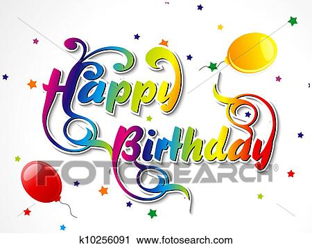 Clipart Of Abstract Happy Birthday Card K10256091 Search Clip Art