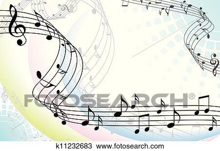 Clipart Of Abstract Music Background With Musical Notes On White