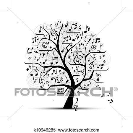 Abstract musical tree for your design clipart k10946285 for Note musicali dwg