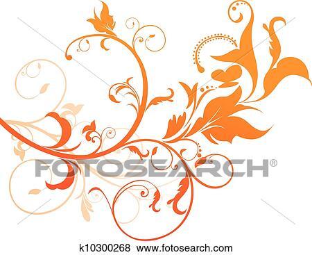 Clip Art Abstrakt Orange Blumen K10300268 Suche Clipart