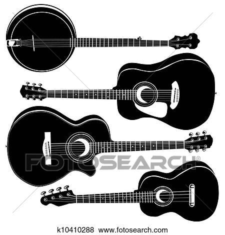 Clip Art Of Acoustic Guitars Vector Silhouettes K10410288 Search