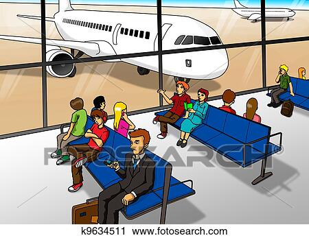 Clipart Of Airport Lounge K9634511