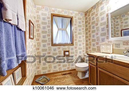Stock Bilder Alt Braun Badezimmer Mit Tapezieren Blau Towels