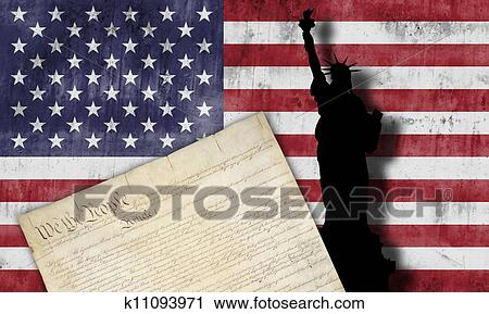 7ac101aaa4c9 Clipart of American flag and patriotic symbols k11093971 - Search ...