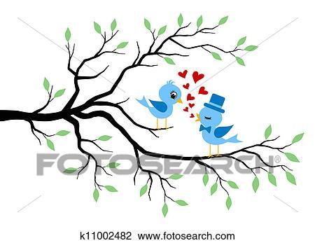Clipart amour baisers oiseaux arbre k11002482 - Clipart amour ...