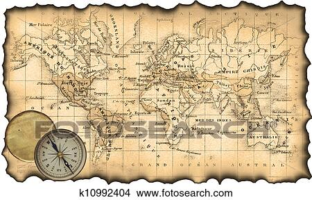 Drawings Of Ancient Map Of The World Compass K10992404 Search