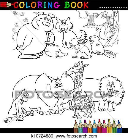 Animales Para Libro Colorear O Página Clipart