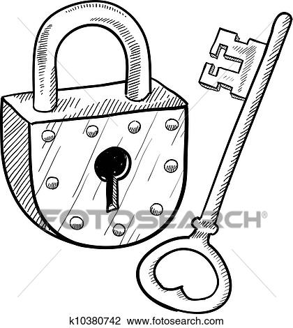 clipart of antique lock and key sketch k10380742 search clip art Skeleton Key Hole Octagon clipart antique lock and key sketch fotosearch search clip art illustration murals